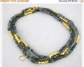 """12% Mothers Day SALE Gemstone Beaded Chain with Heart Charm -- Finished 24"""" Labradorite and Gold Pyrite 4mm Bead Chain with Gold Lobster Cla"""