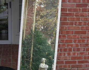 ON SALE PAINTED Floor Mirror Distressed Painted French White Shabby Chic Farmhouse Gorgeous Frame Mirror Not Included