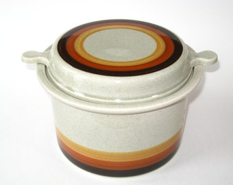 Lapid Israel Mid Century Modern Stoneware Covered Casserole Earth Tone Stripes Bands