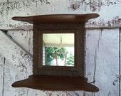Wooden Shelf with mirror Ornate knic knac shelf, display shelf wall hanging Victorian