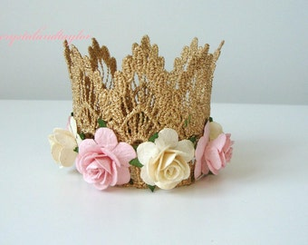 Princess Crown, Birthday Girl Crown, Birthday Hat, Baby Girl Birthday Hat, Gold Crown, Birthday Crown