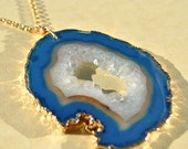 SALE Raw Crystal Necklace - Long Druzy Necklace - Agate Druzy Jewelry - Agate Slice Necklace - Blue Druzy Necklace - Raw Geode Druzy Necklac