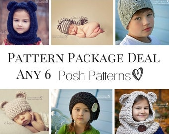 1e2d4801a9a Knitting Patterns - Crochet Patterns - Discount Design Pattern Package -  Choose ANY 6 - Crochet Pattern Hat - Knitting Patterns for Babies