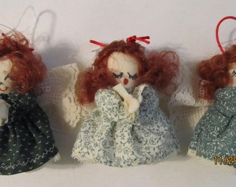 Three Red Haired Angel Ornaments