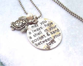 Sea Turtle Necklace, Tropical Necklace, beach jewelry, beach blessing, sterling silver, charm necklace, florida, sand between your toes