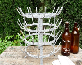Vintage French Drying Rack Bottle Dryer French Kitchen Decor Industrial Rack Metal Rack Wine Cave