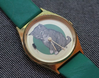 Vintage Cat watch with mouse seconds hand green leather strap