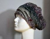 winter beret, hat Hand knitted, soft ooak, unique fashion design grey lavender felt applique, warm cozy hat, vanguard art to wear