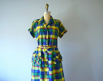 1940s plaid dress . vintage 40s cotton shirt dress