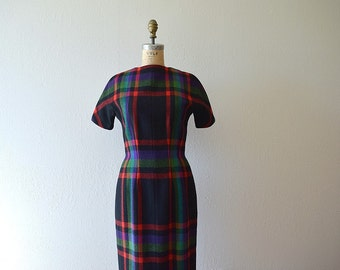 1950s plaid wool dress . vintage 50s dress