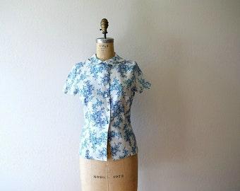 1950s linen blouse . vintage 50s Liberty of London top