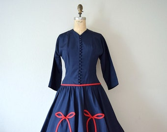 RESERVED . 1950s party dress . vintage 50s bow dress
