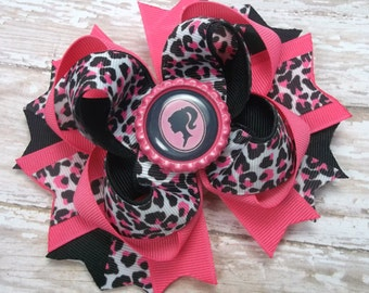 Barbie Hair Bow,  Boutique Hair Bows,  Hair Accessories, Barbie Hot Pink Black Hair Bows,  Alligator Hair Clip, Birthday Hair Bows