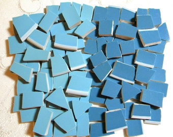 Shades of BLUE - Solid Colors Stoneware Mosaic Tiles - Recycled Plates - 100 Tiles