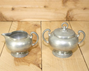 Vintage Pewter Cream and Sugar Set - Cream and Sugar - Vintage Cream and Sugar - Coffer Lover - Insico Pewter