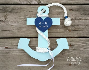 Ring Bearer pillow alternative Anchor Nautical Wedding personalized