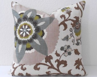 Multi-color floral suzani pillow, green, brown, gray decorative pillow cover
