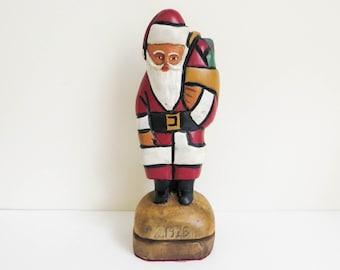 Primitive Carved Wood Santa Figurine - Vintage American Folk Art - Cubist Style Art -  dated 1925 - Christmas Decoration