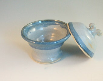 Blue Salt Cellar - Salt and pepper - treasure box - North Carolina Pottery - ring holder