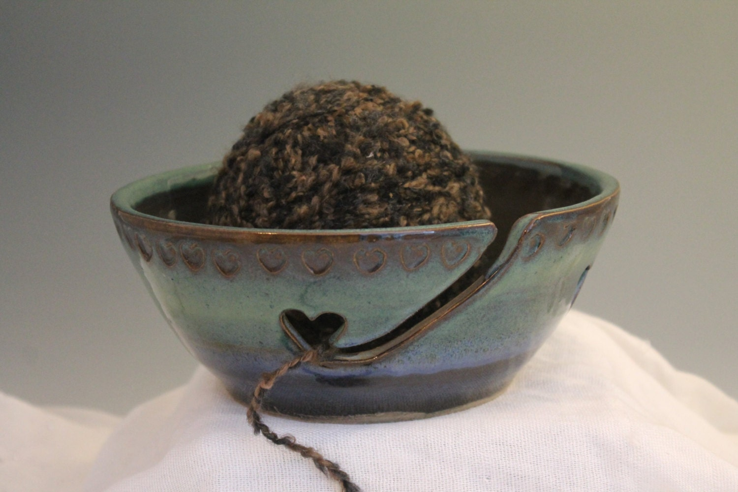 Yarn Bowl Handmade Pottery knitting Bowl blue by NewDayPottery