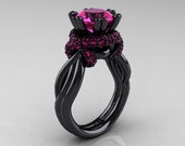 Classic 14K Black Gold 3.0 Ct Pink Sapphire Knot Engagement Ring R390-14KBGPS