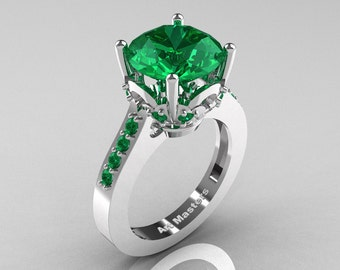 Classic 14K White Gold 3.0 Carat Emerald Solitaire Wedding Ring R301-14KWGEM