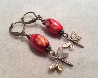 Orange Flower Wooden Bead with Brass Dragonfly Dangle Earrings