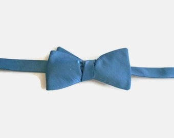 Blue Silk Taffeta Self Tie Adjustable Bow Tie Fits 14 to 19 inch Neck