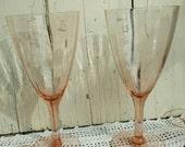 Antique Pink Depression Glass Goblets or Glasses - Sparkling Sift Pink Crystal Stemware, Wedding Toast, Pink Depression Glasses, Pink Glass
