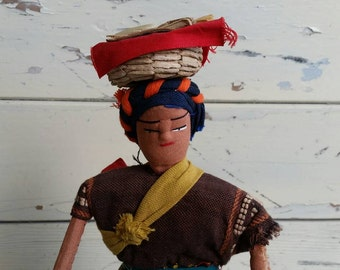 Vintage Guatemalan Lady Collectible Doll - Antique Kids Toy for Boys + Girls, Vintage Souvenir, Vacation Momento, Folk Art Doll, Home Decor