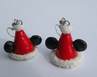 Holiday Mickey Mouse Ears Hat Earrings