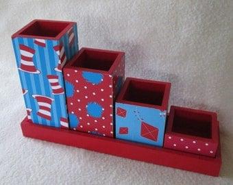 Desk organizer - Desk Set - Pencil Cup Holder Set - Dr. Seuss Themed - Decoupaged - Gift