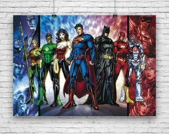 "DC Comics, Heroes, Superman, Batman, Wonderwoman, Green Lantern, The Flash, Art Poster - 24""x36"""