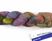 Malabrigo Merino Wool Lace Yarn, Arco Iris, purple, rose, green, color 866
