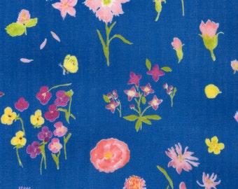 Nani Iro double gauze,Sen ritsu in Embrace, floral on pool blue,  by the yard