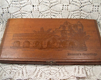 Vintage Large Carved Wooden Mission San Gabriel Candy? Box with Clasp