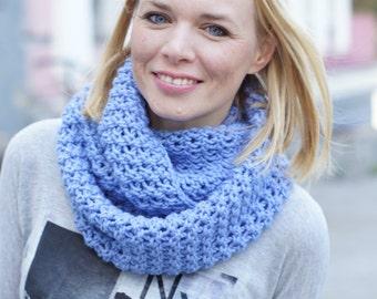 Handknit women blue cowl spring autumn trends blue scarf blue cowl