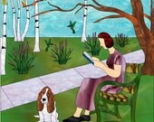 Woman In Park Reading Book Custom Stained Glass Mosaic Artwork