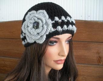 Womens Hat Crochet Hat Winter Fashion Accessories Women Beanie Winter Hat in Black with Light Gray Stripes and Crochet Flower