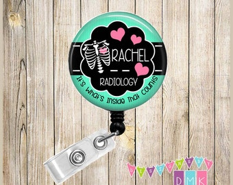 Personalized - Mint Chest Xray with Hearts -  Radiology Technician - Button Badge Reel Retractable ID Holder Alligator or Slide Clip