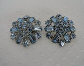 Vintage, Pale Blue, Rhinestone, Scatter Pins, with Emerald Cut Rhinestones, Accented by Round Rhinestones.