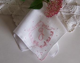 Wedding Hanky Monogrammed J Bride's Vintage Handkerchief in Ivory with Pink Bridal Shower Gift Bridesmaid Gift Wedding Keepsake