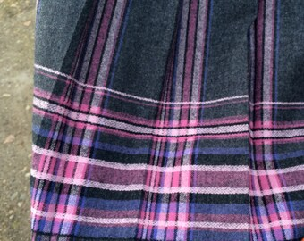Vintage Pendleton Pleated Skirt S M Grey, Pink, Purple Shadow Plaid, Virgin Wool