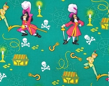 Captain Hook and Peter Pan 100% Cotton Print by the yard
