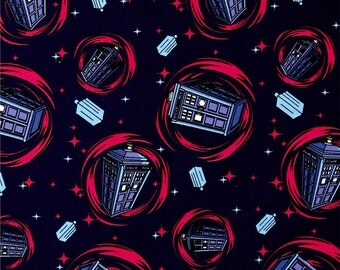 BBC Doctor Who Phone Booth Blue Cotton Fabric by the yard