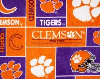 NCAA Clemson University Tigers Fleece Fabric by the yard