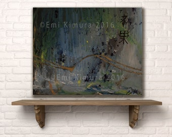 Original blue and green Abstract Acrylic painting on canvas by artist Emi Kimura ON Sale Now 25% off!!