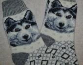 Traditional Knitted Wool Socks, Folk Art, Fair Isle Husky Dog, size M