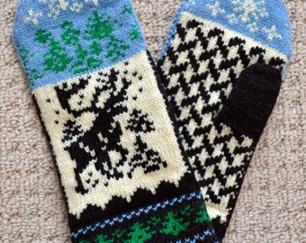 Wool Mittens Norwegian Scandinavian folk art, hand crafted, 100% Wool,  Reindeer, Fair Isle