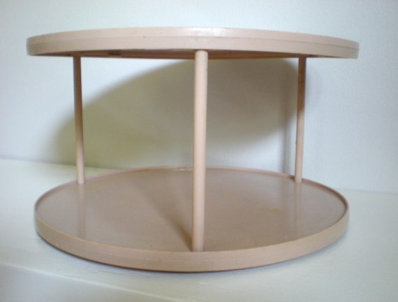 Lazy susan tan ecru two tier turning cabinet organization for Carousel spice racks for kitchen cabinets